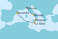 Visitando Génova (Italia), Nápoles (Italia), Messina (Sicilia), La Valletta (Malta), Barcelona