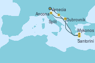 Visitando Venecia (Italia), Split (Croacia), Santorini (Grecia), Mykonos (Grecia), Mykonos (Grecia), Dubrovnik (Croacia), Ancona (Italia)