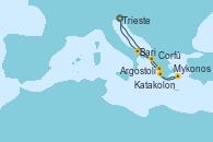 Visitando Trieste (Italia), Katakolon (Olimpia/Grecia), Mykonos (Grecia), Argostoli (Grecia), Corfú (Grecia), Bari (Italia), Trieste (Italia)