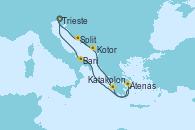 Visitando Trieste (Italia), Split (Croacia), Kotor (Montenegro), Katakolon (Olimpia/Grecia), Atenas (Grecia), Bari (Italia), Trieste (Italia)