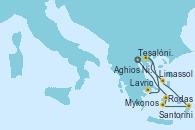 Visitando Tesalónica (Grecia), Mykonos (Grecia), Mykonos (Grecia), Santorini (Grecia), Rodas (Grecia), Limassol (Chipre), Aghios Nikolaos (Grecia), Lavrio (Grecia)
