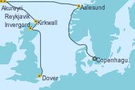 Visitando Copenhague (Dinamarca), Aalesund (Noruega), Akureyri (Islandia), Reykjavik (Islandia), Reykjavik (Islandia), Kirkwall (Escocia), Dover (Inglaterra)