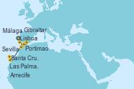 Visitando Lisboa (Portugal), Portimao (Portugal), Sevilla (España), Sevilla (España), Sevilla (España), Málaga, Gibraltar (Inglaterra), Arrecife (Lanzarote/España), Santa Cruz de Tenerife (España), Las Palmas de Gran Canaria (España), Las Palmas de Gran Canaria (España)