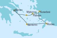 Visitando Atenas (Grecia), Santorini (Grecia), Rodas (Grecia), Kusadasi (Efeso/Turquía), Patmos (Grecia), Mykonos (Grecia), Mykonos (Grecia), Atenas (Grecia)