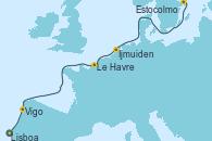 Visitando Lisboa (Portugal), Vigo (España), Le Havre (Francia), Ijmuiden (Ámsterdam), Estocolmo (Suecia), Estocolmo (Suecia)