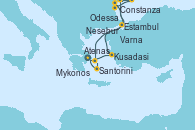 Visitando Atenas (Grecia), Kusadasi (Efeso/Turquía), Estambul (Turquía), Varna (Bulgaria), Mykonos (Grecia), Santorini (Grecia), Atenas (Grecia)