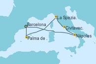 Visitando Barcelona, Palma de Mallorca (España), La Spezia, Florencia y Pisa (Italia), Civitavecchia (Roma), Nápoles (Italia), Barcelona