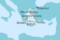 Visitando Estambul (Turquía), Cesme (Turquía), Bodrum (Turquia), Rodas (Grecia), Santorini (Grecia), Spetses (Grecia), Atenas (Grecia)