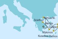 Visitando Atenas (Grecia), Aghios Nikolaos (Grecia), Patmos (Grecia), Kusadasi (Efeso/Turquía), Cesme (Turquía), Mykonos (Grecia), Scíathos (Grecia), Atenas (Grecia)