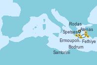 Visitando Atenas (Grecia), Ermoupolis (Islas Cícladas/Grecia), Rodas (Grecia), Fethiye (Turquía), Bodrum (Turquia), Santorini (Grecia), Spetses (Grecia), Atenas (Grecia)