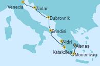 Visitando Atenas (Grecia), Monemvasia (Grecia), Katakolon (Olimpia/Grecia), Nidrí (Grecia), Brindisi (Italia), Dubrovnik (Croacia), Zadar (Croacia), Venecia (Italia)