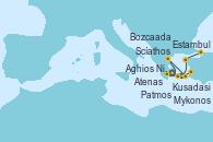Visitando Atenas (Grecia), Scíathos (Grecia), Patmos (Grecia), Aghios Nikolaos (Grecia), Kusadasi (Efeso/Turquía), Mykonos (Grecia), Estambul (Turquía)