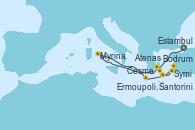 Visitando Estambul (Turquía), Cesme (Turquía), Bodrum (Turquia), Symi (Grecia), Santorini (Grecia), Ermoupolis (Islas Cícladas/Grecia), Atenas (Grecia)