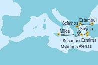 Visitando Atenas (Grecia), Scíathos (Grecia), Estambul (Turquía), Estambul (Turquía), Kusadasi (Efeso/Turquía), Mykonos (Grecia), Milos (Grecia), Atenas (Grecia)