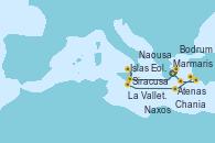 Visitando Atenas (Grecia), Siracusa (Sicilia), Islas Eolias, Lipari (Sicilia), La Valletta (Malta), Chania (Creta/Grecia), Bodrum (Turquia), Marmaris (Turquía), Atenas (Grecia)