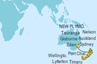 Visitando Auckland (Nueva Zelanda), Tauranga (Nueva Zelanda), Gisborne (Nueva Zelanda), Port Chalmers (Nueva Zelanda), Timaru (Nueva Zelanda), Lyttelton (Nueva Zelanda), Wellington (Nueva Zelanda), Nelson (Nueva Zelanda), NEW PLYMOUTH, NEW ZEALAND, Eden (Nueva Gales), Sydney (Australia)