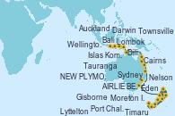 Visitando Auckland (Nueva Zelanda), Tauranga (Nueva Zelanda), Gisborne (Nueva Zelanda), Port Chalmers (Nueva Zelanda), Timaru (Nueva Zelanda), Lyttelton (Nueva Zelanda), Wellington (Nueva Zelanda), Nelson (Nueva Zelanda), NEW PLYMOUTH, NEW ZEALAND, Eden (Nueva Gales), Sydney (Australia), Moreton Island (Australia), AIRLIE BEACH, Townsville, Cairns (Australia), Darwin (Australia), Dili (Timor Oriental), Islas Komodo (Indonesia), Lombok (Indonesia), Bali (Indonesia)