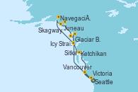 Visitando Seattle (Washington/EEUU), Sitka (Alaska), Navegación por Glaciar Hubbard (Alaska), Juneau (Alaska), Skagway (Alaska), Glaciar Bay (Alaska), Icy Strait Point (Alaska), Ketchikan (Alaska), Victoria (Canadá), Vancouver (Canadá), Seattle (Washington/EEUU)