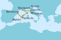 Visitando Civitavecchia (Roma), Livorno, Pisa y Florencia (Italia), Livorno, Pisa y Florencia (Italia), Montecarlo (Mónaco), Ajaccio (Córcega), Mahón (Menorca/España), Palma de Mallorca (España), Barcelona