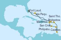 Visitando Fort Lauderdale (Florida/EEUU), Philipsburg (St. Maarten), Castries (Santa Lucía/Caribe), Bridgetown (Barbados), Martinica (Antillas), San Cristóbal y Nieves, Saint Thomas (Islas Vírgenes), Isla Pequeña (San Salvador/Bahamas), Fort Lauderdale (Florida/EEUU)