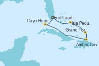Visitando Fort Lauderdale (Florida/EEUU), Isla Pequeña (San Salvador/Bahamas), Grand Turks(Turks & Caicos), Amber Cove (República Dominicana), Cayo Hueso (Key West/Florida), Fort Lauderdale (Florida/EEUU)