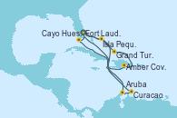 Visitando Fort Lauderdale (Florida/EEUU), Isla Pequeña (San Salvador/Bahamas), Grand Turks(Turks & Caicos), Amber Cove (República Dominicana), Cayo Hueso (Key West/Florida), Fort Lauderdale (Florida/EEUU), Isla Pequeña (San Salvador/Bahamas), Aruba (Antillas), Curacao (Antillas), Fort Lauderdale (Florida/EEUU)