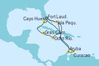 Visitando Fort Lauderdale (Florida/EEUU), Isla Pequeña (San Salvador/Bahamas), Aruba (Antillas), Curacao (Antillas), Fort Lauderdale (Florida/EEUU), Isla Pequeña (San Salvador/Bahamas), Ocho Ríos (Jamaica), Gran Caimán (Islas Caimán), Cayo Hueso (Key West/Florida), Fort Lauderdale (Florida/EEUU)