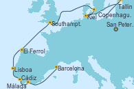 Visitando San Petersburgo (Rusia), Tallin (Estonia), Kiel (Alemania), Copenhague (Dinamarca), Southampton (Inglaterra), El Ferrol (Galicia/España), Lisboa (Portugal), Cádiz (España), Málaga, Barcelona