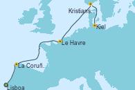 Visitando Lisboa (Portugal), La Coruña (Galicia/España), Le Havre (Francia), Kristiansand (Noruega), Kiel (Alemania)