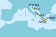 Visitando Venecia (Italia), Brindisi (Italia), Mykonos (Grecia), Atenas (Grecia), Split (Croacia), Venecia (Italia)