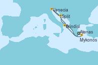 Visitando Atenas (Grecia), Split (Croacia), Venecia (Italia), Brindisi (Italia), Mykonos (Grecia), Atenas (Grecia)