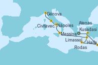 Visitando Atenas (Grecia), Kusadasi (Efeso/Turquía), Haifa (Israel), Limassol (Chipre), Rodas (Grecia), Messina (Sicilia), Nápoles (Italia), Civitavecchia (Roma), Génova (Italia)