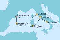 Visitando Barcelona, Palma de Mallorca (España), Cagliari (Cerdeña), Civitavecchia (Roma), Nápoles (Italia), Livorno, Pisa y Florencia (Italia), Barcelona