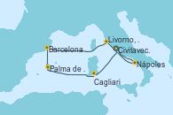 Visitando Civitavecchia (Roma), Nápoles (Italia), Livorno, Pisa y Florencia (Italia), Barcelona, Palma de Mallorca (España), Cagliari (Cerdeña), Civitavecchia (Roma)