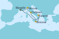 Visitando Marsella (Francia), Siracusa (Sicilia), Taranto (Italia), Civitavecchia (Roma), Génova (Italia), Marsella (Francia)