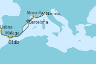 Visitando Barcelona, Marsella (Francia), Génova (Italia), Málaga, Cádiz (España), Lisboa (Portugal), Barcelona