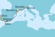 Visitando Málaga, Cádiz (España), Lisboa (Portugal), Barcelona, Marsella (Francia), Génova (Italia), Málaga