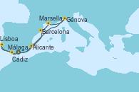 Visitando Málaga, Cádiz (España), Lisboa (Portugal), Barcelona, Marsella (Francia), Génova (Italia), Alicante (España), Málaga