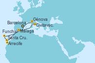 Visitando Barcelona, Arrecife (Lanzarote/España), Santa Cruz de Tenerife (España), Funchal (Madeira), Málaga, Civitavecchia (Roma), Génova (Italia), Barcelona