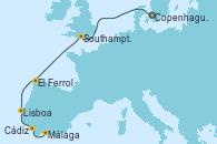 Visitando Copenhague (Dinamarca), Southampton (Inglaterra), El Ferrol (Galicia/España), Lisboa (Portugal), Cádiz (España), Málaga