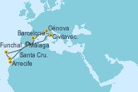 Visitando Málaga, Civitavecchia (Roma), Génova (Italia), Barcelona, Arrecife (Lanzarote/España), Santa Cruz de Tenerife (España), Funchal (Madeira), Málaga