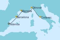 Visitando Valencia, Barcelona, Marsella (Francia), Génova (Italia), Civitavecchia (Roma)