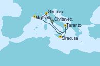 Visitando Civitavecchia (Roma), Génova (Italia), Marsella (Francia), Siracusa (Sicilia), Taranto (Italia), Civitavecchia (Roma)