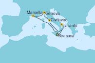 Visitando Siracusa (Sicilia), Taranto (Italia), Civitavecchia (Roma), Génova (Italia), Marsella (Francia), Siracusa (Sicilia)
