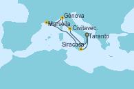 Visitando Taranto (Italia), Civitavecchia (Roma), Génova (Italia), Marsella (Francia), Siracusa (Sicilia), Taranto (Italia)