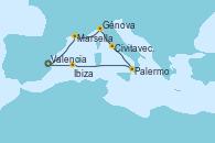 Visitando Valencia, Marsella (Francia), Génova (Italia), Civitavecchia (Roma), Palermo (Italia), Ibiza (España), Valencia