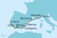 Visitando Málaga, Cádiz (España), Lisboa (Portugal), Cartagena (Murcia), Valencia, Barcelona, Savona (Italia), Marsella (Francia), Málaga