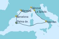 Visitando Palma de Mallorca (España), Barcelona, Marsella (Francia), Génova (Italia), La Spezia, Florencia y Pisa (Italia), Nápoles (Italia), Palma de Mallorca (España)