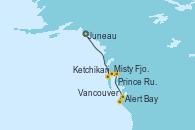 Visitando Juneau (Alaska), Ketchikan (Alaska), Misty Fjords (CRUCERO), Prince Rupert (Canadá), Alert Bay (Canada), Vancouver (Canadá)