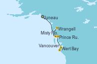 Visitando Juneau (Alaska), Wrangell (Alaska), Misty Fjords (CRUCERO), Prince Rupert (Canadá), Alert Bay (Canada), Vancouver (Canadá)